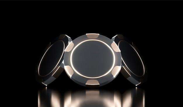 Sfondo di casinò. chip del gioco del casinò 3d. banner del casinò online. chip realistico nero e oro. concetto di gioco d'azzardo, icona dell'app mobile di poker. Vettore Premium