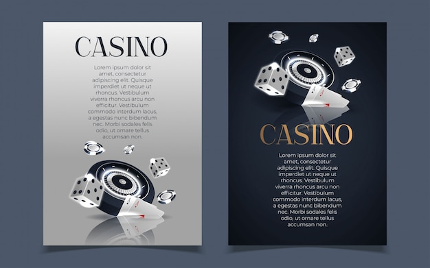 Banner del casinò con fiches e carte. poker club texas holdem. Vettore Premium