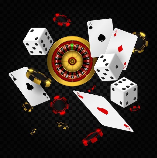 Elementi del casinò che cadono. roulette del casinò con patatine fritte, bandiera del manifesto di gioco d'azzardo realistico di dadi rossi. carte da gioco e fiches da poker fanno volare il casinò Vettore Premium