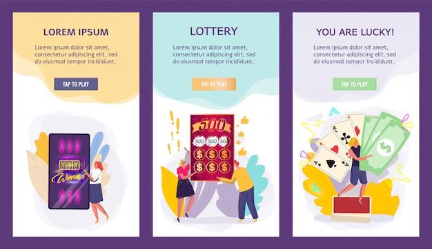Insegne di gioco del casinò, vincitori minuscoli di posta della gente, concetto di lotteria per il cellulare app, illustrazione Vettore Premium