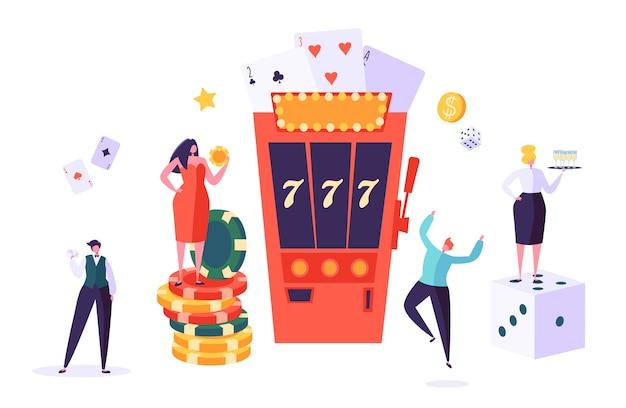 Casinò e concetto di gioco d'azzardo. personaggi di persone che giocano a giochi di fortuna. uomo e donna giocano a poker, roulette, slot machine. Vettore Premium
