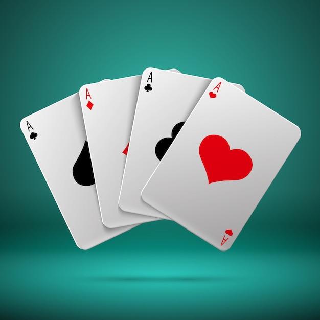 Concetto di gioco d'azzardo del gioco del blackjack della mazza del casinò con le carte da gioco con quattro assi. combinazione Vettore Premium