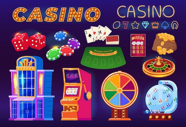 Casinò, gioco d'azzardo set di cartoni animati, gioco con jackpot per soldi, poker, fortuna. Vettore Premium