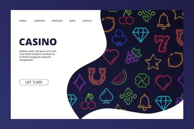 Pagina di destinazione del casinò. banner web di gioco d'azzardo con icone al neon Vettore Premium