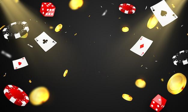 Invito vip di lusso casinò con sfondo banner di gioco d'azzardo festa di celebrazione. Vettore Premium