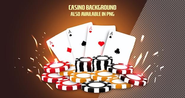Sfondo di casinò online con chip di carte da gioco Vettore Premium