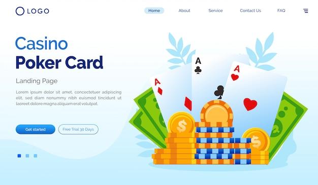 Modello piano del sito web della pagina di destinazione della carta da poker del casinò Vettore Premium