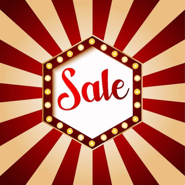 Esagono di banner vendita casinò. colore rosso su sfondo vintage illustrazione Vettore Premium