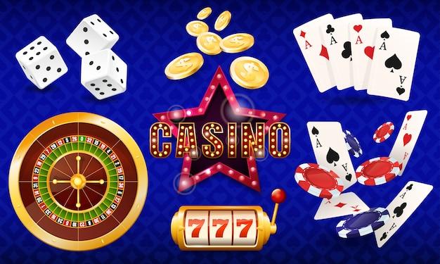 Casinò, serie di illustrazioni, dadi, carte, fiches del casinò, roulette, slot machine. Vettore Premium