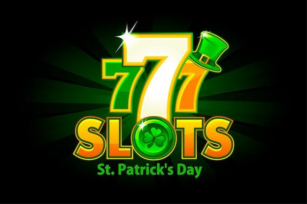 Slot del casinò per il giorno di san patrizio su uno sfondo verde. fessura logo e vacanza con trifoglio e simbolo del cappello. Vettore Premium