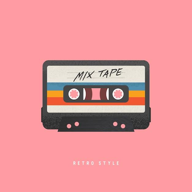 Cassetta con etichetta retrò come oggetto vintage per nastro mix revival anni '80. Vettore Premium