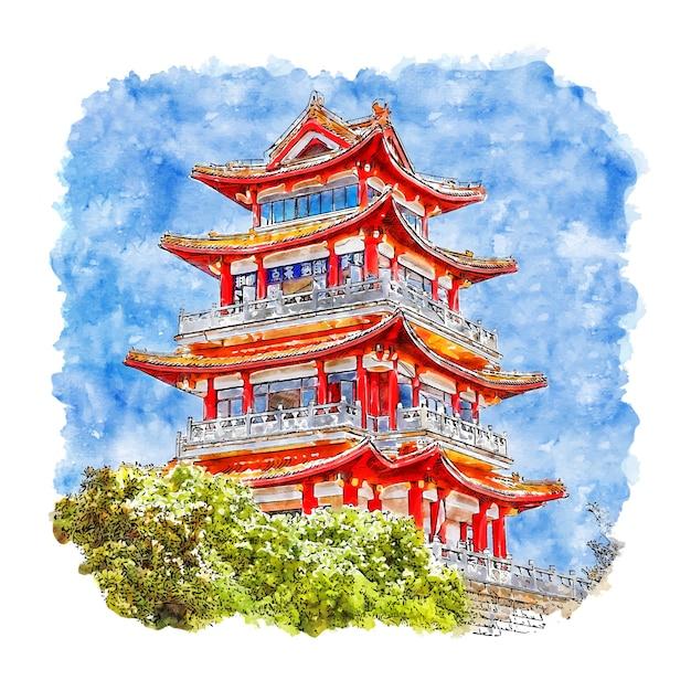 Illustrazione disegnata a mano di schizzo dell'acquerello della cina del castello Vettore Premium