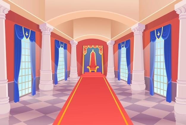 Sala del castello con un trono re e finestre. corridoio del castello di vettore con un trono re e finestre. illustrazione di artoon. Vettore Premium