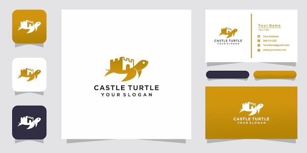 Castello e tartaruga logo e biglietto da visita design Vettore Premium