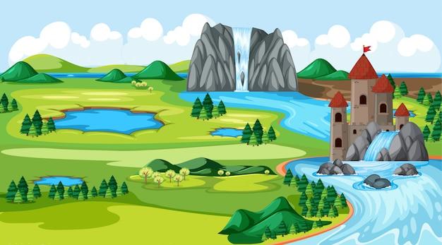 Castelli e parco naturale con la scena del paesaggio del lato del fiume di caduta dell'acqua Vettore Premium