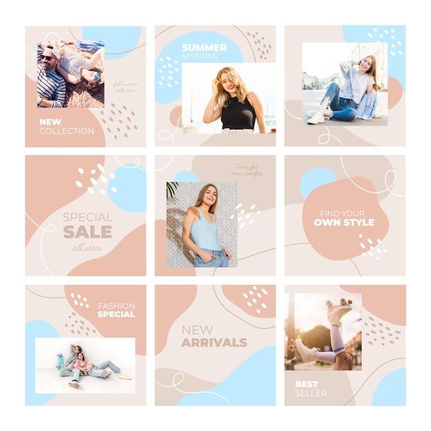 Feed di puzzle instagram modello femminile casual Vettore Premium