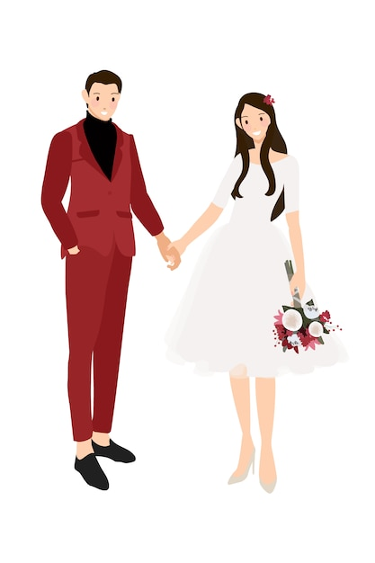Le coppie di nozze casuali che si tengono per mano nel vestito rosso e vestono lo stile piano Vettore Premium