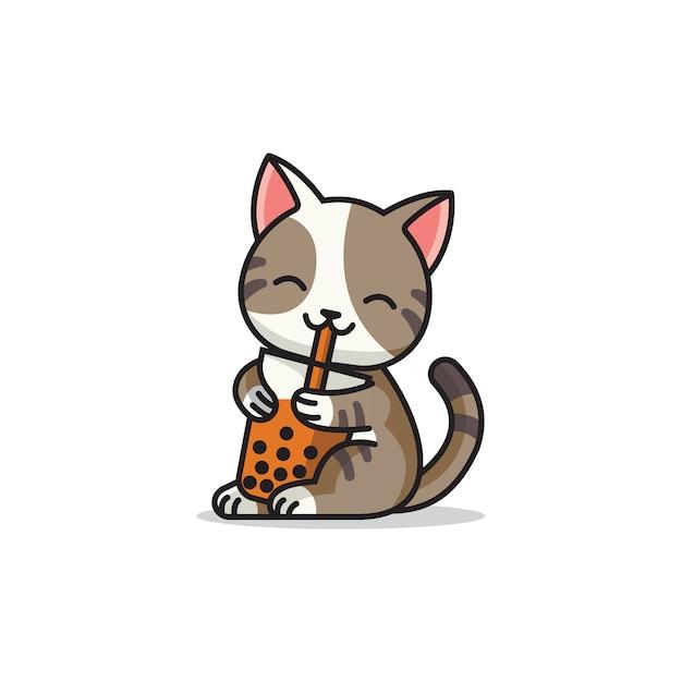 Logo mascotte carino gatto boba Vettore Premium