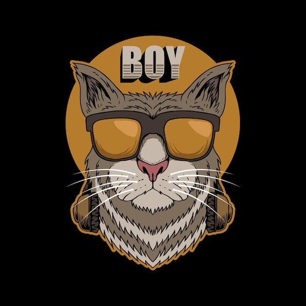 Illustrazione della cuffia di cat boy Vettore Premium