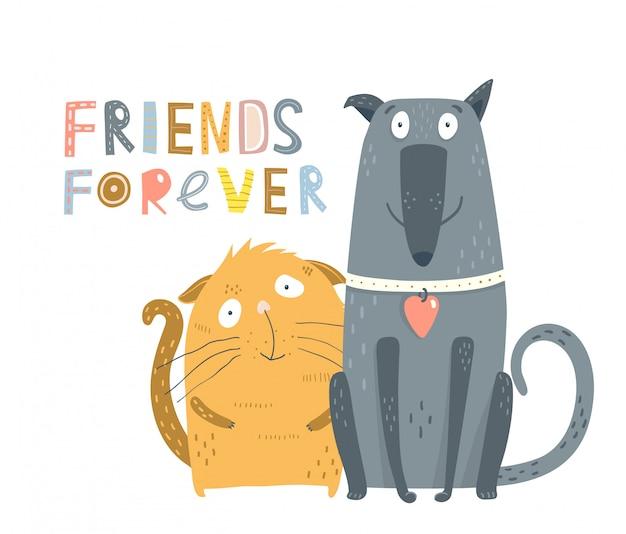 Amici di cani e gatti Vettore Premium
