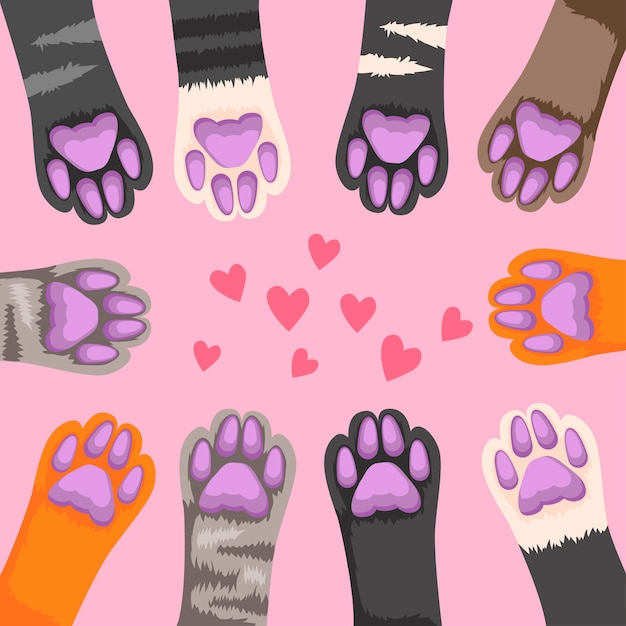Zampe di gatto. zampa di gattino carino, piede divertente animali domestici. Vettore Premium