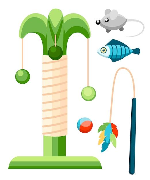 Tiragraffi per gatti e icona di colore dei giocattoli per animali domestici. accessori per gatti. illustrazione. prodotti per il negozio di animali. illustrazione su sfondo bianco. Vettore Premium