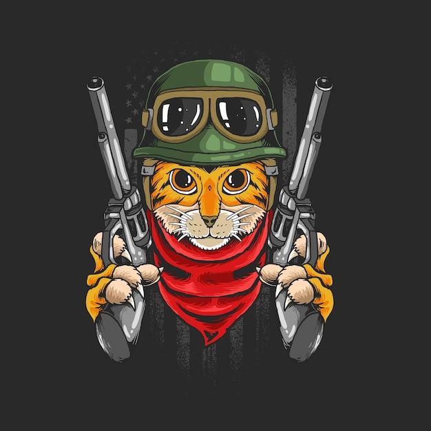 Guerriero gatto con pistole isolato sul nero Vettore Premium
