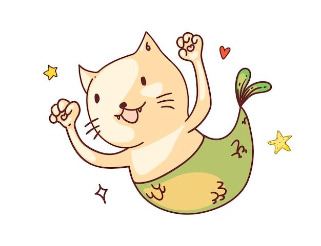 Gatto con coda di sirena. divertente, felice, sirena, gatto, fish, con, coda, cartone animato, carattere, schizzo, disegno. carino allegro animale doodle art Vettore Premium