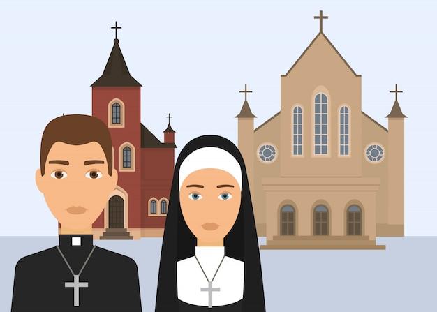 Illustrazione vettoriale religione cattolica. carattere pastore e suora cattolica con croce e cattedrale o chiesa isolato su sfondo bianco. religione cristiana del cattolicesimo Vettore Premium