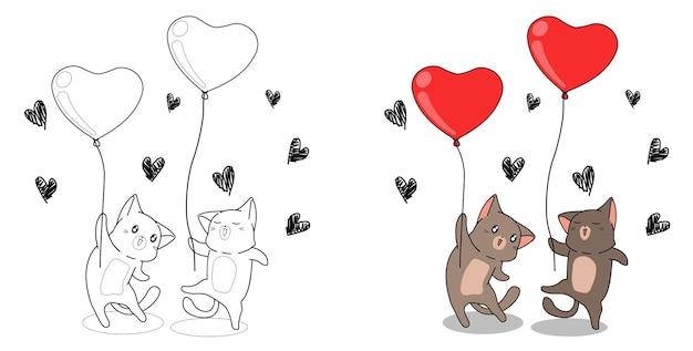I gatti stanno tenendo la pagina da colorare dei cartoni animati di palloncini cuore per i bambini Vettore Premium