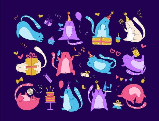 Set festa di compleanno di gatti - divertente gattino al neon con cappello festivo, confezioni regalo, torta di compleanno e bevande Vettore Premium