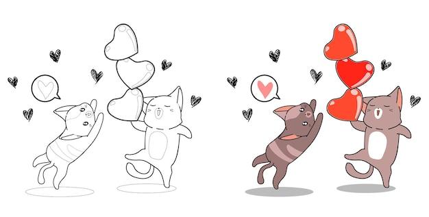 Gatti e cuori nella pagina da colorare del fumetto di san valentino per i bambini Vettore Premium