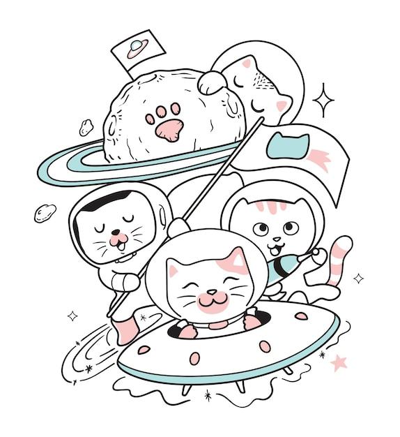 I gatti viaggiano nello spazio Vettore Premium