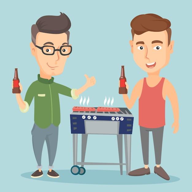Amici caucasici divertirsi alla festa barbecue. Vettore Premium