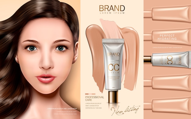 Cc crema contenuta nel tubo cosmetico, con viso modello ed elementi di fondazione Vettore Premium