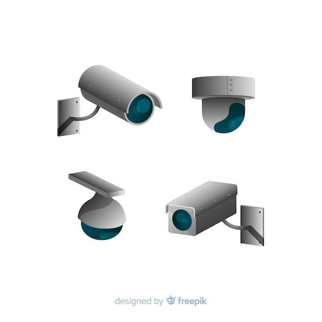 Collezione di telecamere cctv con design piatto Vettore Premium