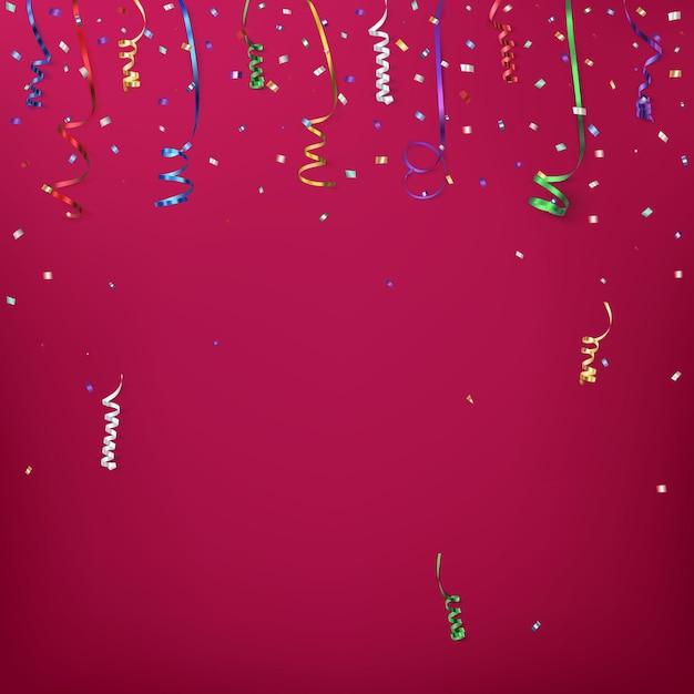 Modello di sfondo celebrazione con coriandoli e nastri colorati. Vettore Premium