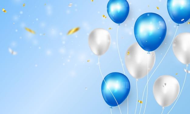 Bandiera del partito di celebrazione con sfondo di palloncini di colore blu. biglietto d'auguri di lusso ricco di auguri. Vettore Premium