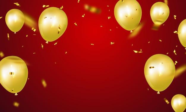 Banner festa di celebrazione con sfondo di palloncini d'oro. biglietto d'auguri di lusso ricco di auguri. Vettore Premium