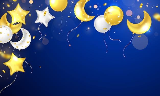 Banner festa di celebrazione con sfondo di palloncini d'oro. vendita. biglietto di inaugurazione di lusso ricco di auguri. Vettore Premium