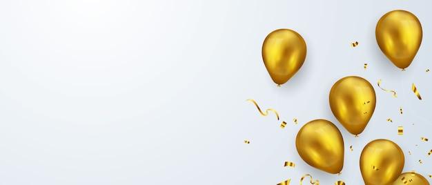 Banner festa di celebrazione con sfondo di palloncini d'oro. vendita . biglietto d'auguri di lusso ricco di auguri. Vettore Premium