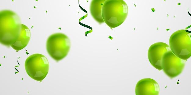 Bandiera del partito di celebrazione con sfondo di palloncini verdi. vendita . biglietto d'auguri di lusso ricco di auguri. Vettore Premium