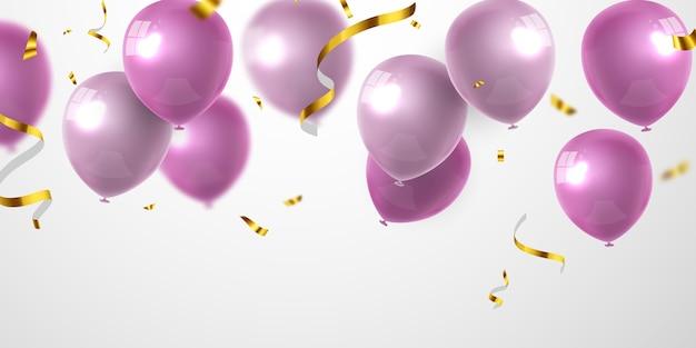 Banner festa di celebrazione con sfondo di palloncini rosa. vendita . biglietto d'auguri di lusso ricco di auguri. Vettore Premium