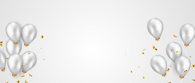 Bandiera del partito di celebrazione con sfondo di palloncini di colore argento. vendita . biglietto d'auguri di lusso ricco di auguri. Vettore Premium