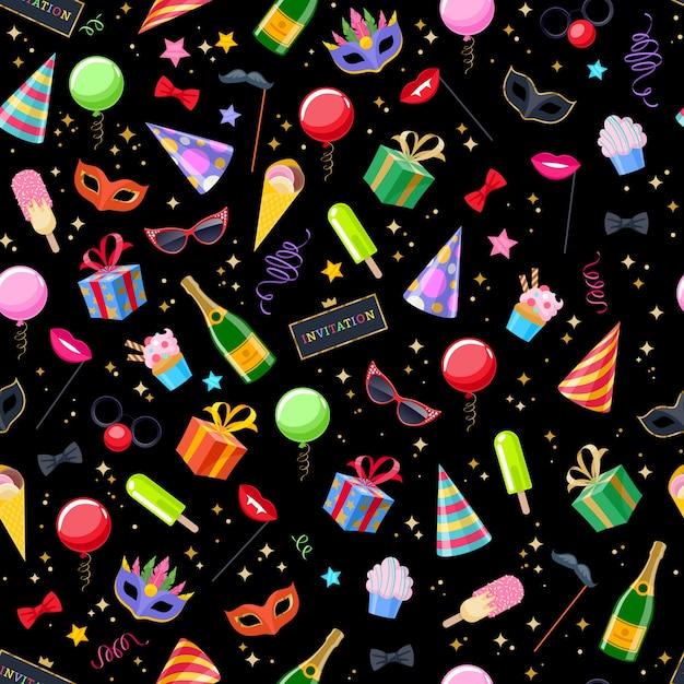 Fondo senza cuciture festivo di carnevale della festa di celebrazione. modello di simboli colorati - cappello, maschera, regali, palloncini, bandiere di fuochi d'artificio di champagne Vettore Premium