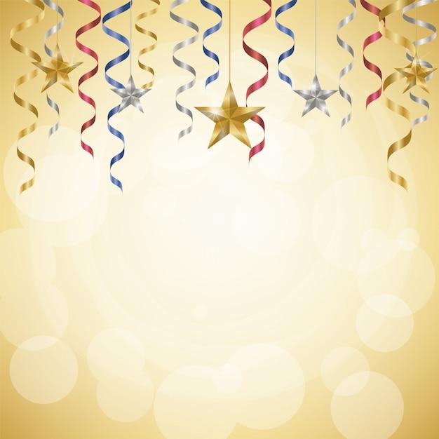 Stelle filanti e stelle di celebrazione su fondo dorato Vettore Premium