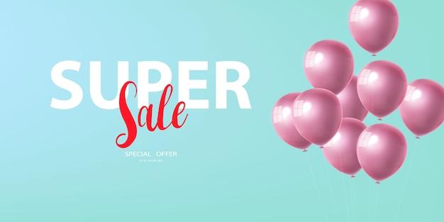 Bandiera di vendita super celebrazione con sfondo di palloncini rosa. vendita . biglietto d'auguri di lusso ricco di auguri. Vettore Premium