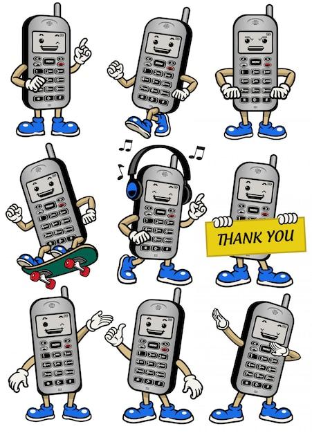 Mascotte del cellulare impostata in varie pose Vettore Premium