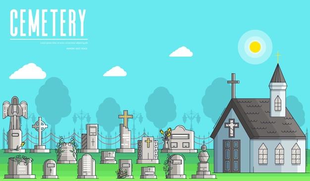 Cimitero con diverse tombe e piccola chiesa cristiana nella giornata di sole Vettore Premium
