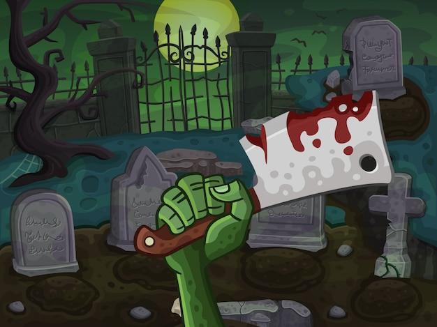 Mano del cimitero e zombie con coltello da macellaio Vettore Premium